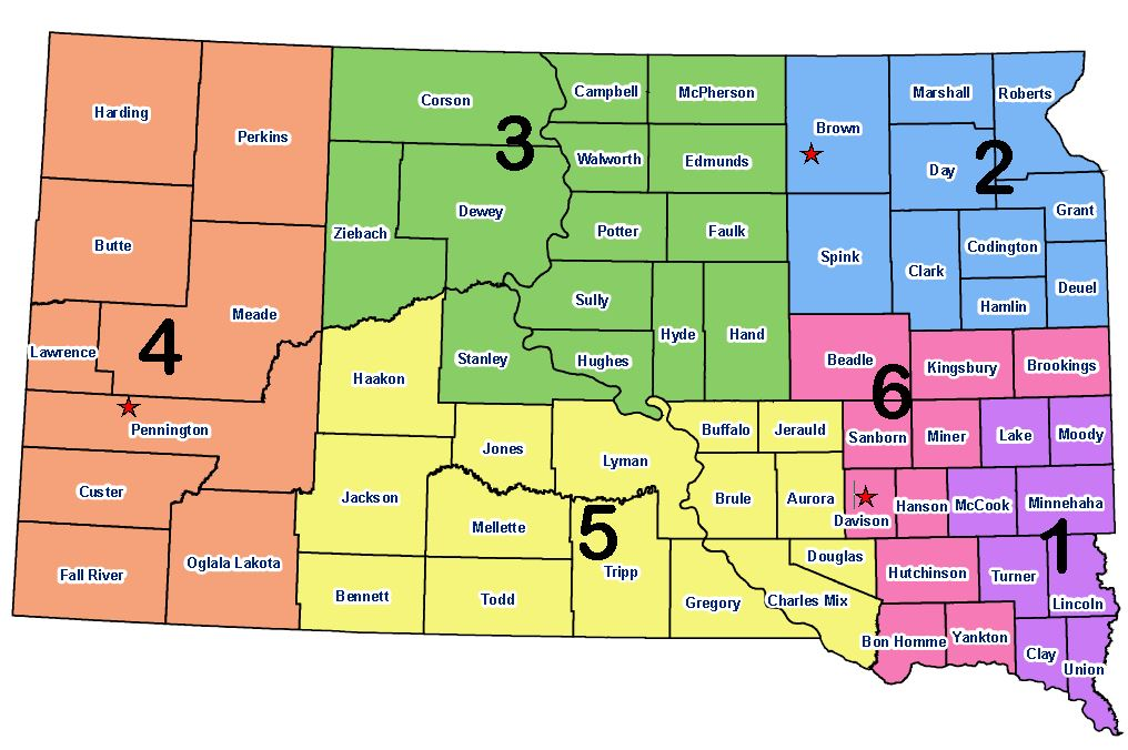 south dakota cities map South Dakota Emergency Regional Map Sd Dps south dakota cities map