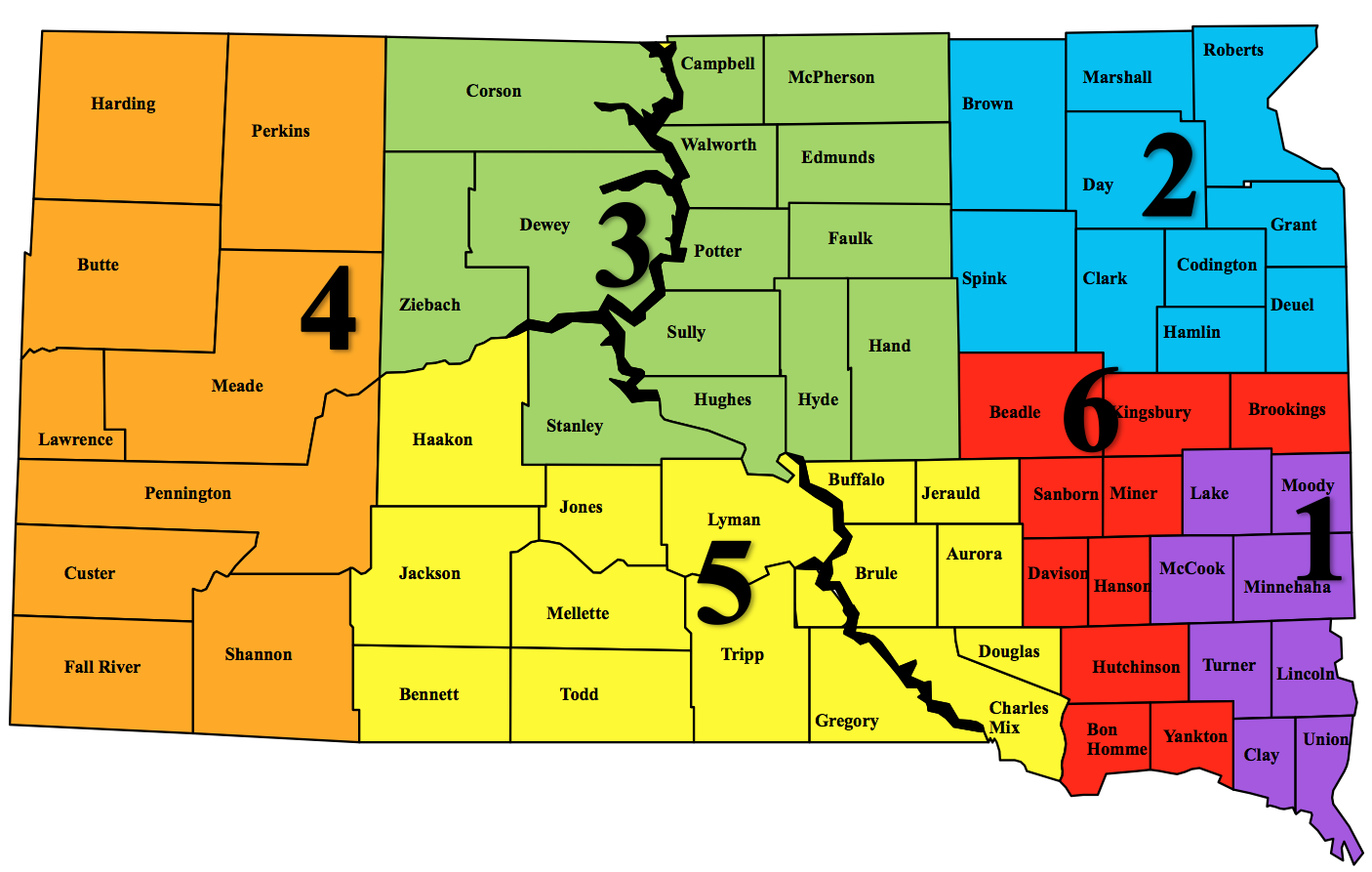 South Dakota Emergency Regional Map SD DPS - Sd maps